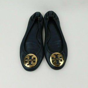 Tory Burch Navy Gold Reva Stretch Flat